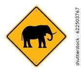 warning sign elephant crossing... | Shutterstock .eps vector #622503767