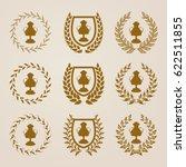 golden shields with laurel...   Shutterstock .eps vector #622511855