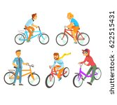 cyclists riding bike set for... | Shutterstock .eps vector #622515431