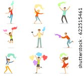 smiling people dancing with... | Shutterstock .eps vector #622515461