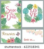 save the date card set with... | Shutterstock .eps vector #622518341