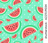 Watermelon Background On White...