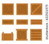 set of wooden box icon isolated ... | Shutterstock . vector #622521575