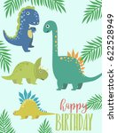 dino birthday party greeting... | Shutterstock .eps vector #622528949