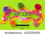 summer sale banner with cut... | Shutterstock .eps vector #622533491