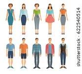young men and women in flat... | Shutterstock .eps vector #622540514