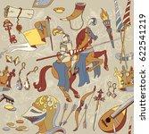 medieval seamless pattern ... | Shutterstock .eps vector #622541219