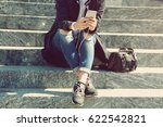 woman with smartphone listening ... | Shutterstock . vector #622542821