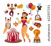 circus elements and performers... | Shutterstock .eps vector #622557251