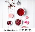 herbal rose tea  dry roses and... | Shutterstock . vector #622559225