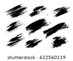 set of black paint  ink brush... | Shutterstock .eps vector #622560119