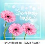 pink gerbera daisies on a blue... | Shutterstock .eps vector #622576364