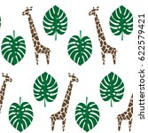 giraffes and palm leaves... | Shutterstock .eps vector #622579421