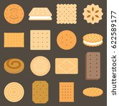 collection of biscuit in flat... | Shutterstock .eps vector #622589177