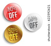 set of color 50  off buttons or ... | Shutterstock .eps vector #622592621
