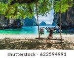 traveler woman in bikini... | Shutterstock . vector #622594991