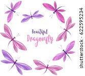 Stock vector vector llustrace dragonfly on a white background brightly colored dragonflies in flight 622595234