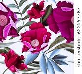 seamless tropical flower  plant ... | Shutterstock . vector #622597787