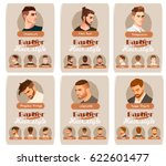 men's haircut and hairstyle.... | Shutterstock .eps vector #622601477