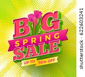 spring sale sign with tulips...   Shutterstock .eps vector #622603241