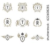 luxury monogram logos templates ... | Shutterstock .eps vector #622608281