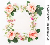 round frame made of pink roses  ... | Shutterstock . vector #622608911