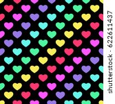 bright 80s style rainbow hearts ... | Shutterstock .eps vector #622611437