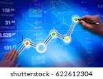 growth chart  the hand with the ... | Shutterstock . vector #622612304