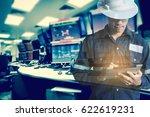 double exposure of  engineer or ... | Shutterstock . vector #622619231
