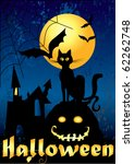 halloween card with black cat ... | Shutterstock .eps vector #62262748