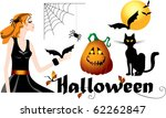 set of halloween symbols  black ... | Shutterstock .eps vector #62262847
