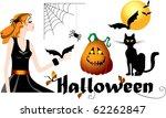 set of halloween symbols  black ... | Shutterstock .eps vector #62262847