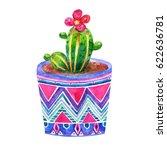 cartoon watercolor cactus in a... | Shutterstock . vector #622636781