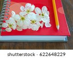 Small photo of Romantic letter diary. Spring blossom on notebook with pencil love message symbol. Lovely flowers passion concept. Love lyrics book.