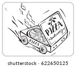 cartoon pizza box delivers hot... | Shutterstock .eps vector #622650125