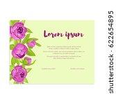 purple vintage peonies in frame ... | Shutterstock .eps vector #622654895