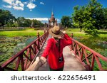 tourist woman in red shirt... | Shutterstock . vector #622656491