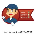 mechanic service list isolated... | Shutterstock .eps vector #622665797