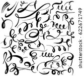 set of hand drawn calligraphic... | Shutterstock .eps vector #622671749