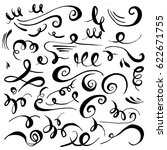 set of hand drawn calligraphic... | Shutterstock .eps vector #622671755
