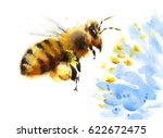 Watercolor Honey Bee Flying...
