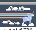 cute vector unicorn in flat...   Shutterstock .eps vector #622673891