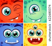 cute cartoon square monsters