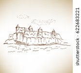 hand drawn medieval castle... | Shutterstock .eps vector #622683221