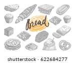 hand drawn bread and pastries... | Shutterstock .eps vector #622684277