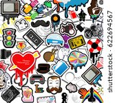 comics style  set of objects in ... | Shutterstock .eps vector #622694567