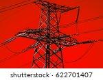 high voltage  power lines .... | Shutterstock . vector #622701407