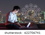 a man  using laptop with iot ... | Shutterstock . vector #622706741