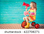beautiful child with bouquet of ... | Shutterstock . vector #622708271