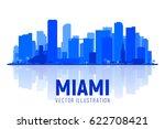 miami florida city silhouette...   Shutterstock .eps vector #622708421